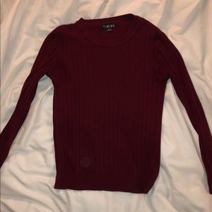 TIMING Cable Knit Maroon Sweater L